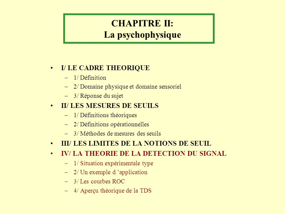 CHAPITRE II: La psychophysique