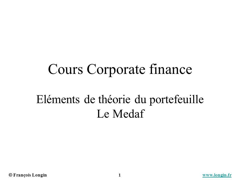 Cours Corporate finance Eléments de théorie du portefeuille Le Medaf