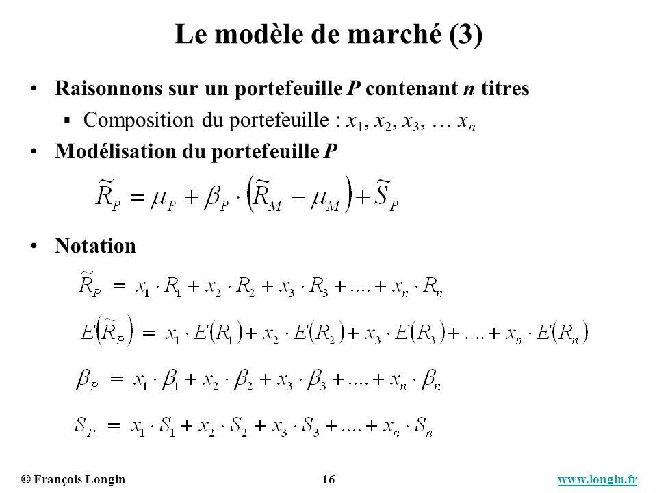 Le modèle de marché (3) Raisonnons sur un portefeuille P contenant n titres. Composition du portefeuille : x1, x2, x3, … xn.