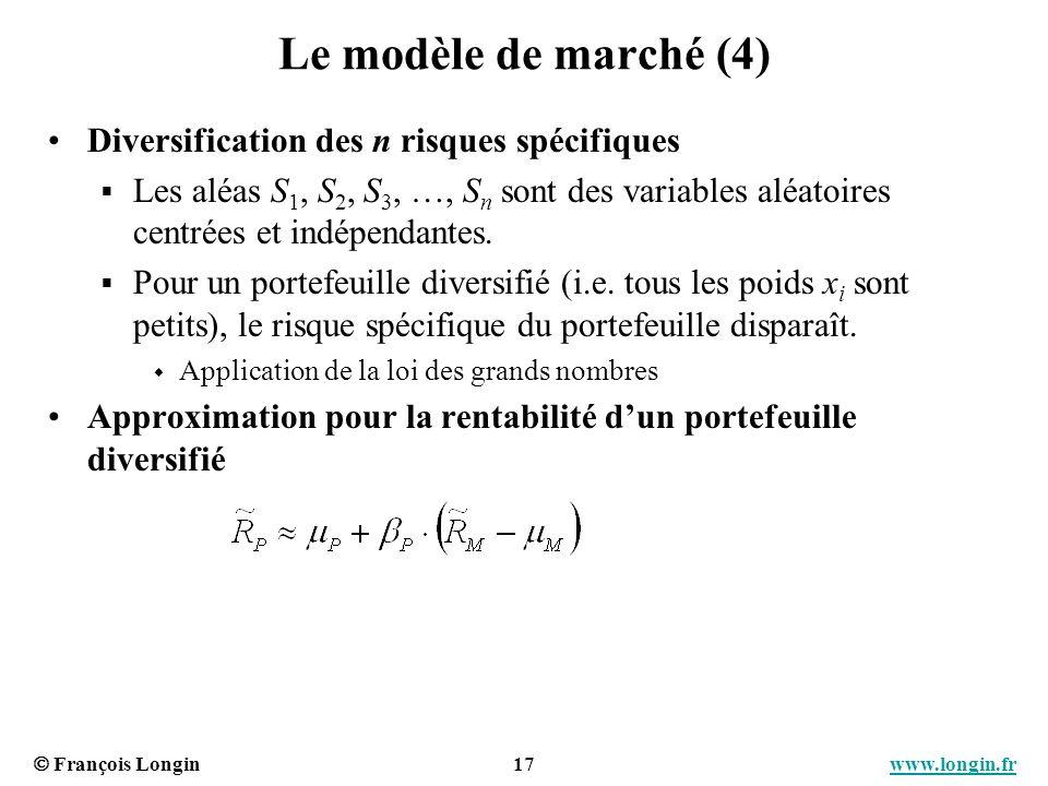 Le modèle de marché (4) Diversification des n risques spécifiques