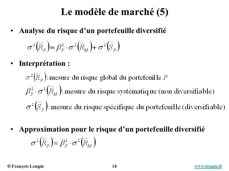 Le modèle de marché (5) Analyse du risque d'un portefeuille diversifié