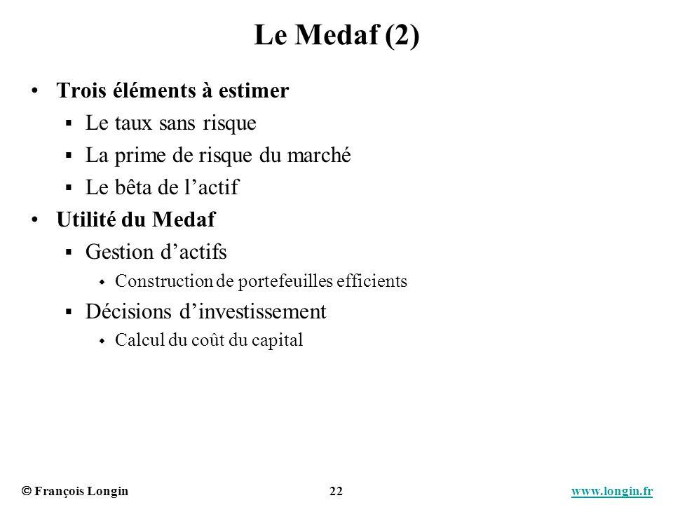 Le Medaf (2) Trois éléments à estimer Le taux sans risque