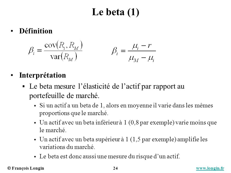 Le beta (1) Définition Interprétation