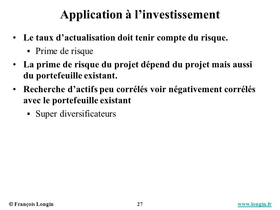 Application à l'investissement