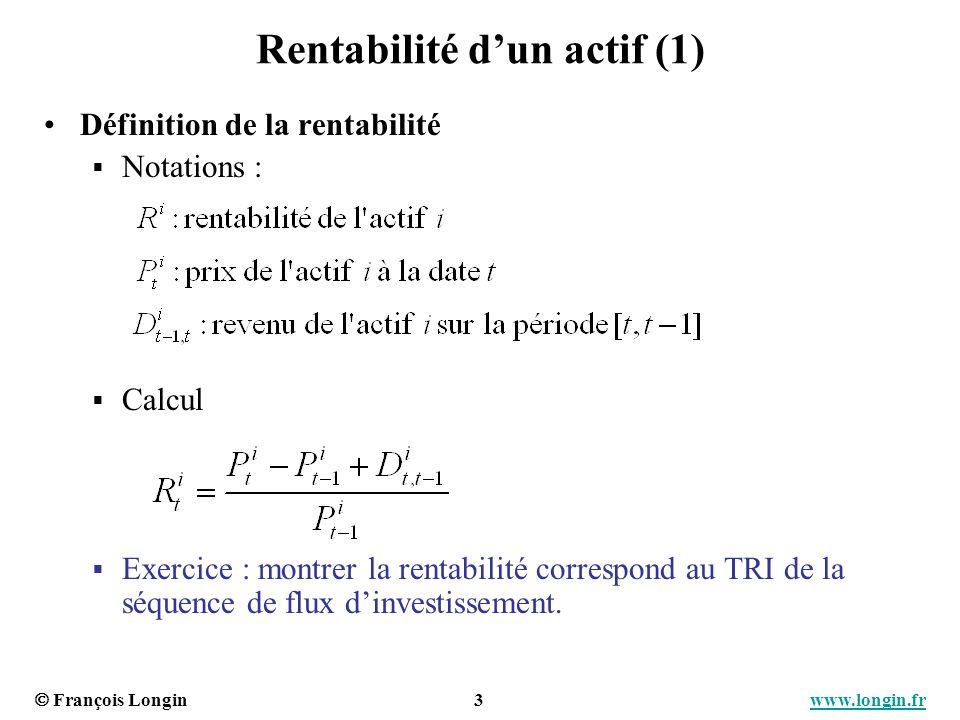 Rentabilité d'un actif (1)