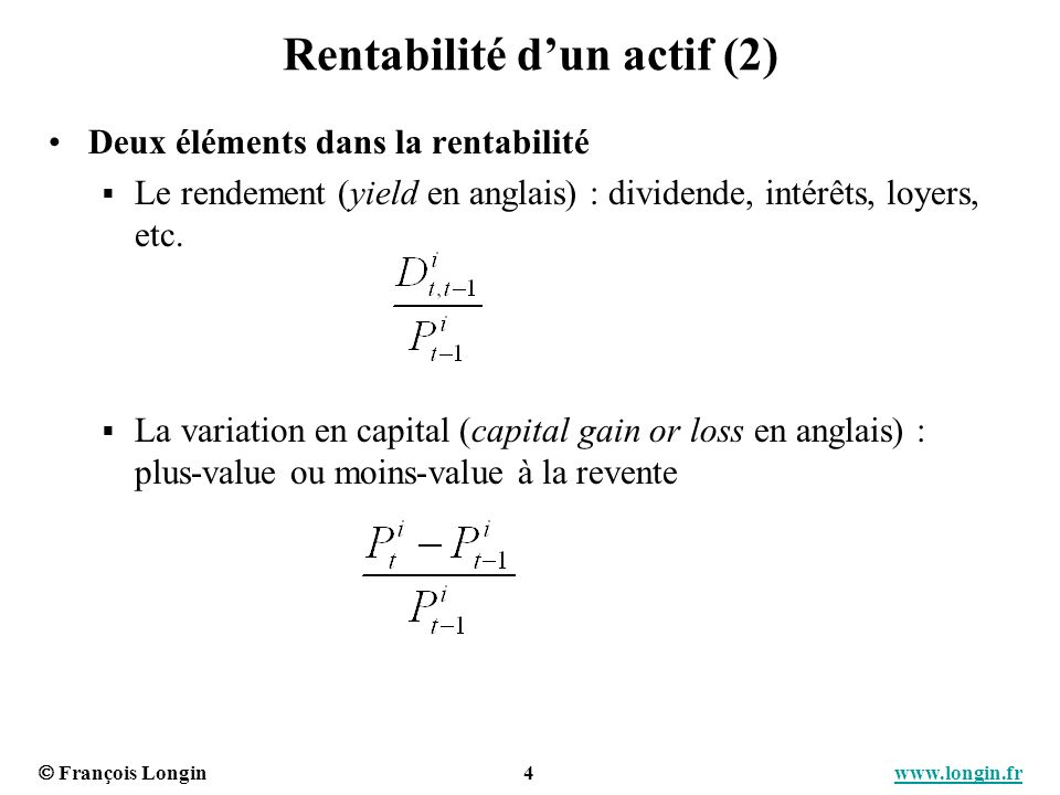 Rentabilité d'un actif (2)