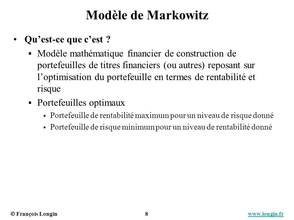 Modèle de Markowitz Qu'est-ce que c'est