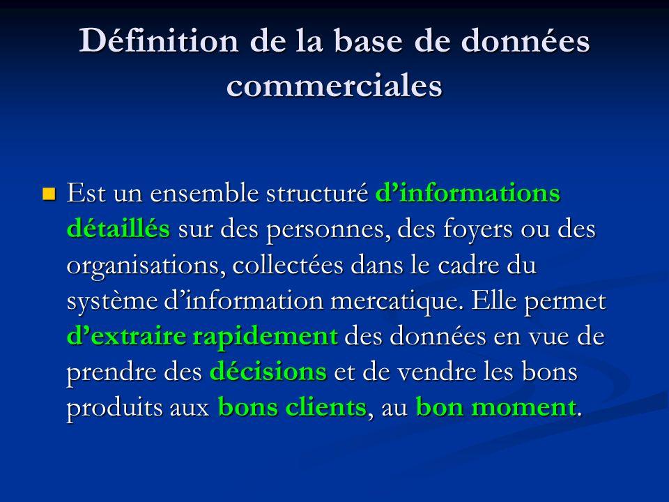 Définition de la base de données commerciales