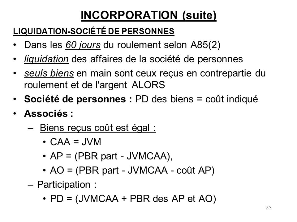 INCORPORATION (suite)