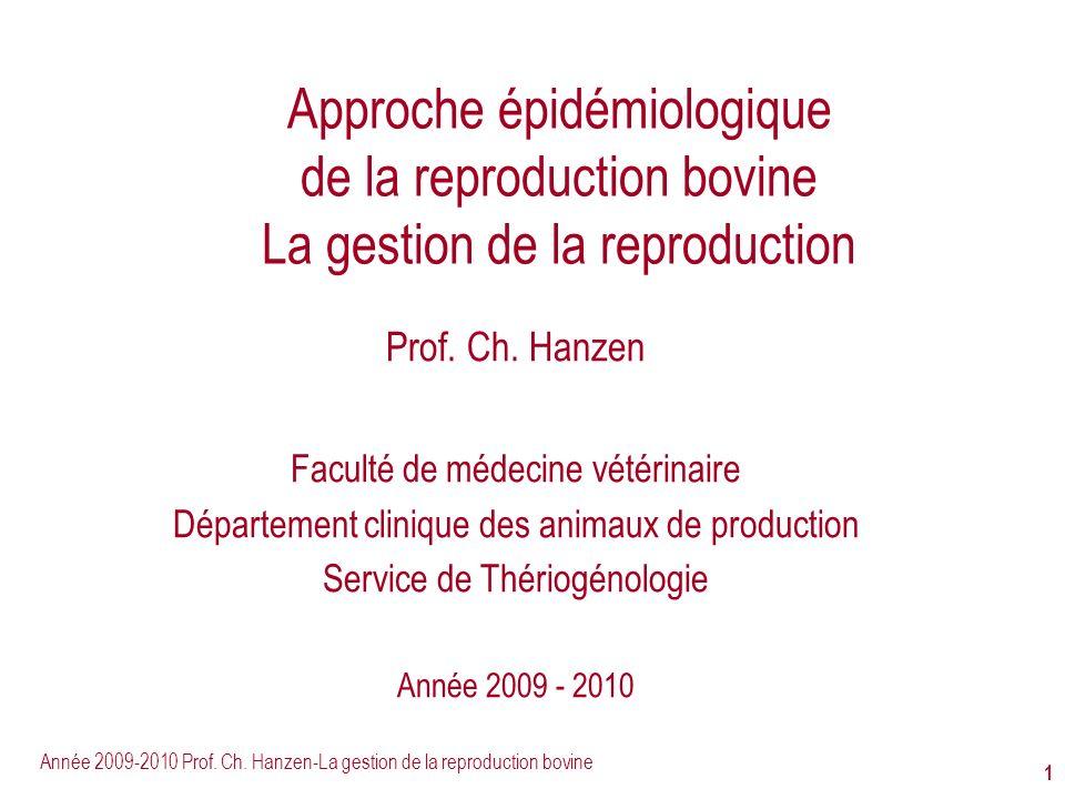 Approche épidémiologique de la reproduction bovine La gestion de la reproduction