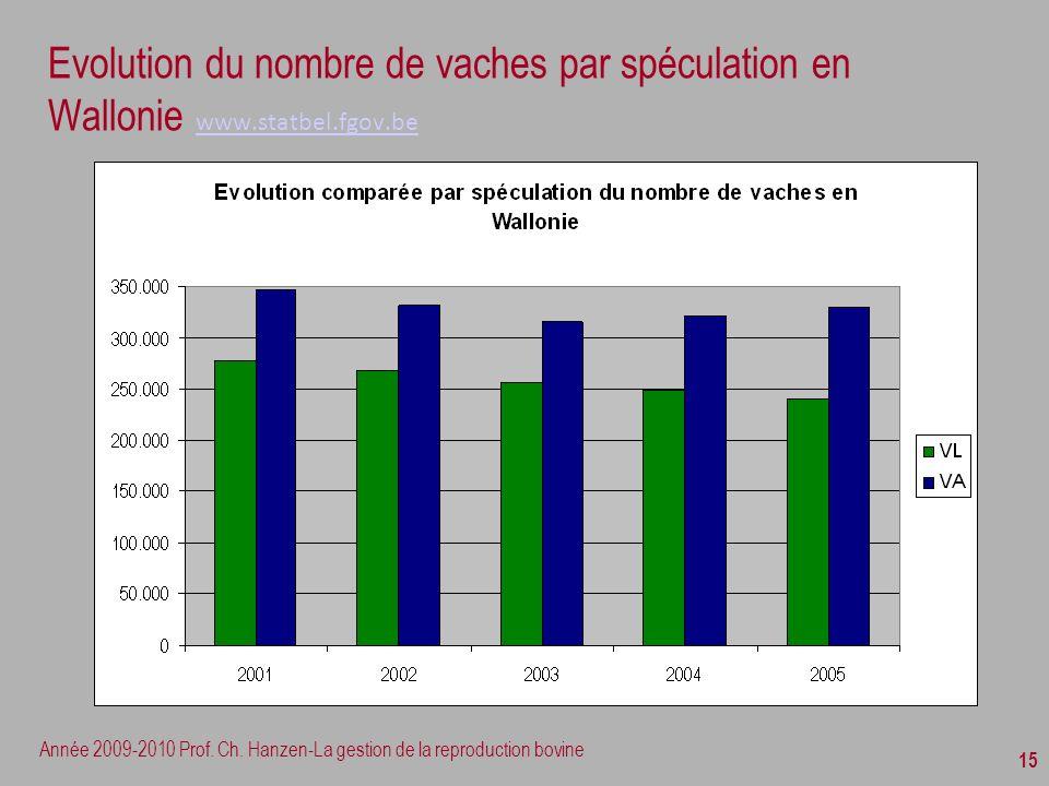 Evolution du nombre de vaches par spéculation en Wallonie www. statbel
