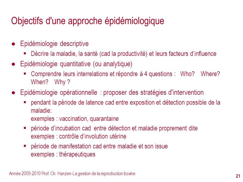 Objectifs d une approche épidémiologique