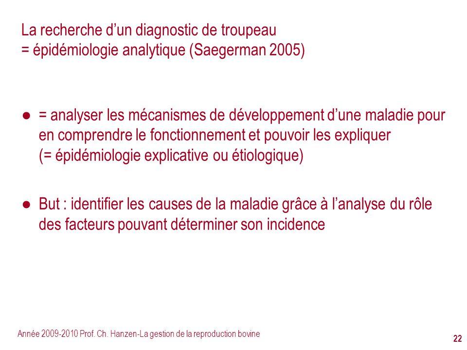 La recherche d'un diagnostic de troupeau = épidémiologie analytique (Saegerman 2005)