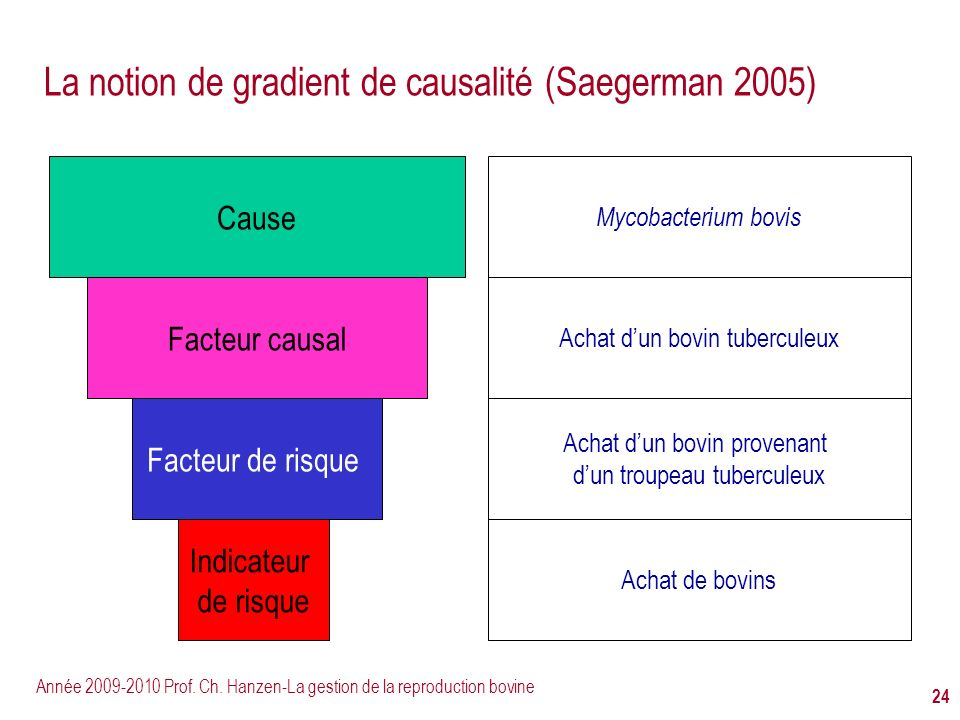 La notion de gradient de causalité (Saegerman 2005)