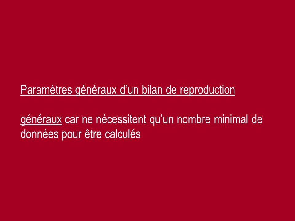 Paramètres généraux d'un bilan de reproduction généraux car ne nécessitent qu'un nombre minimal de données pour être calculés