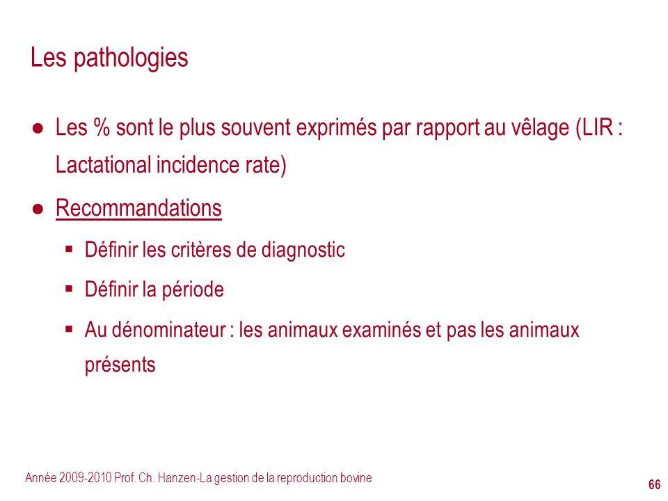 Les pathologies Les % sont le plus souvent exprimés par rapport au vêlage (LIR : Lactational incidence rate)