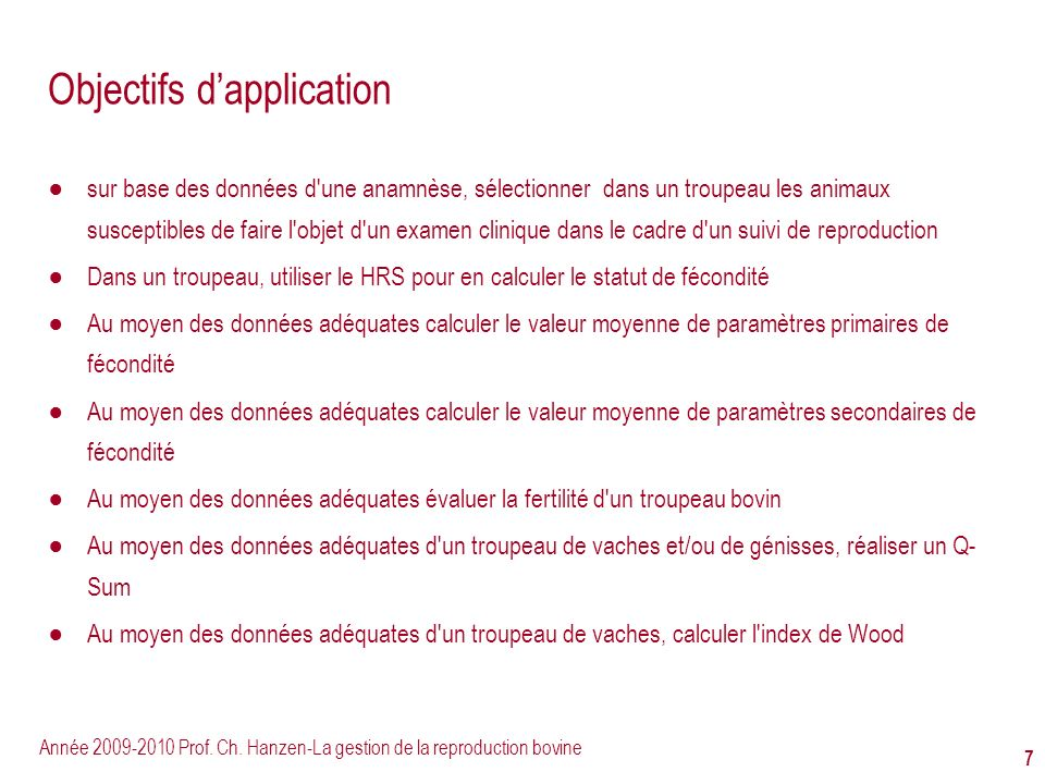 Objectifs d'application