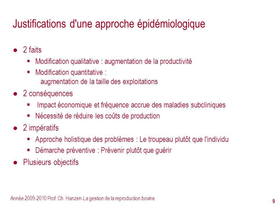 Justifications d une approche épidémiologique