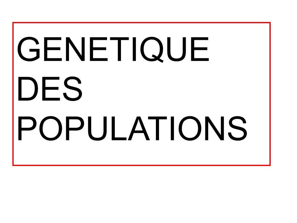 GENETIQUE DES POPULATIONS