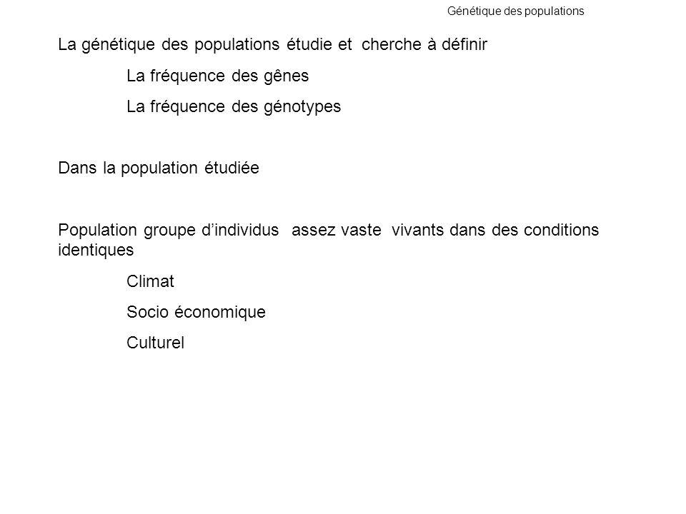La génétique des populations étudie et cherche à définir