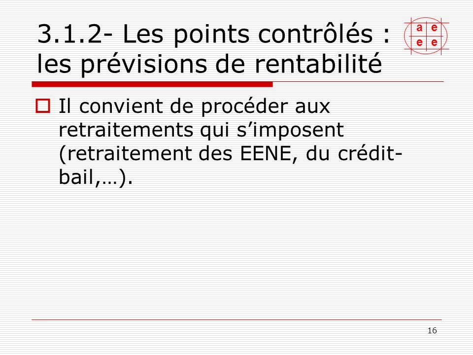 3.1.2- Les points contrôlés : les prévisions de rentabilité