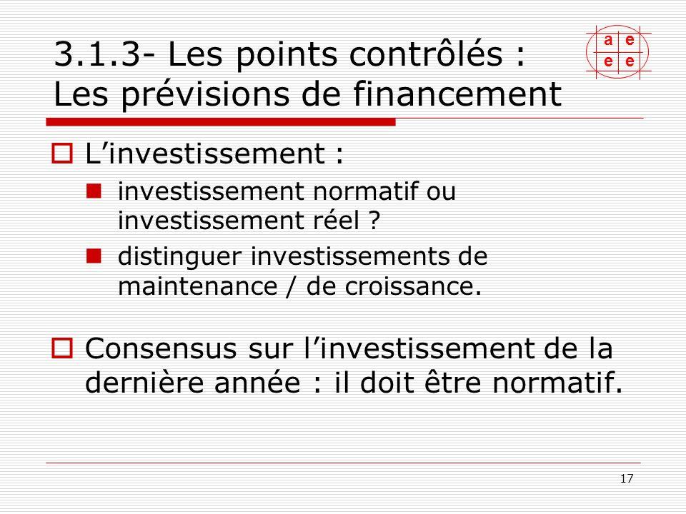 3.1.3- Les points contrôlés : Les prévisions de financement