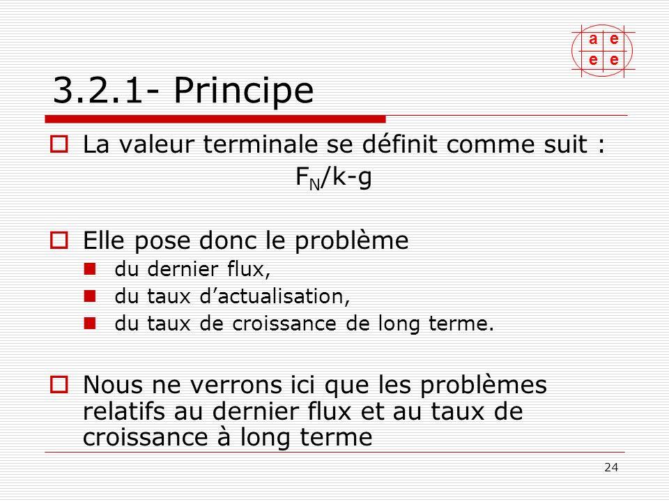 3.2.1- Principe La valeur terminale se définit comme suit : FN/k-g