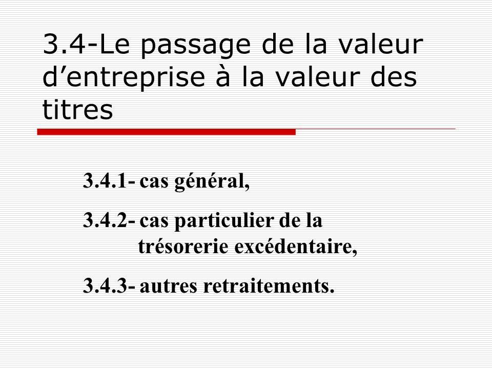3.4-Le passage de la valeur d'entreprise à la valeur des titres