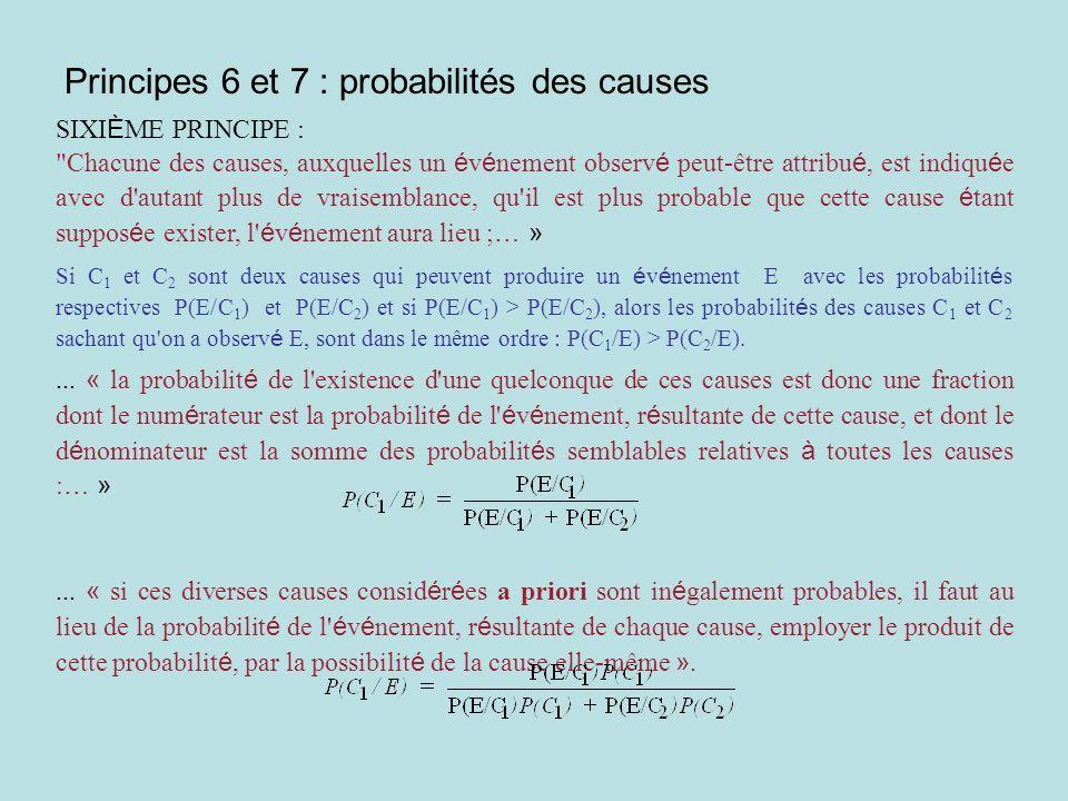 Principes 6 et 7 : probabilités des causes