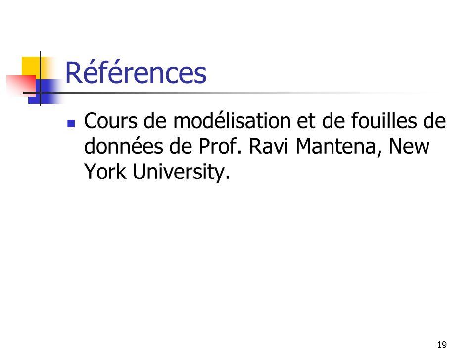 Références Cours de modélisation et de fouilles de données de Prof.