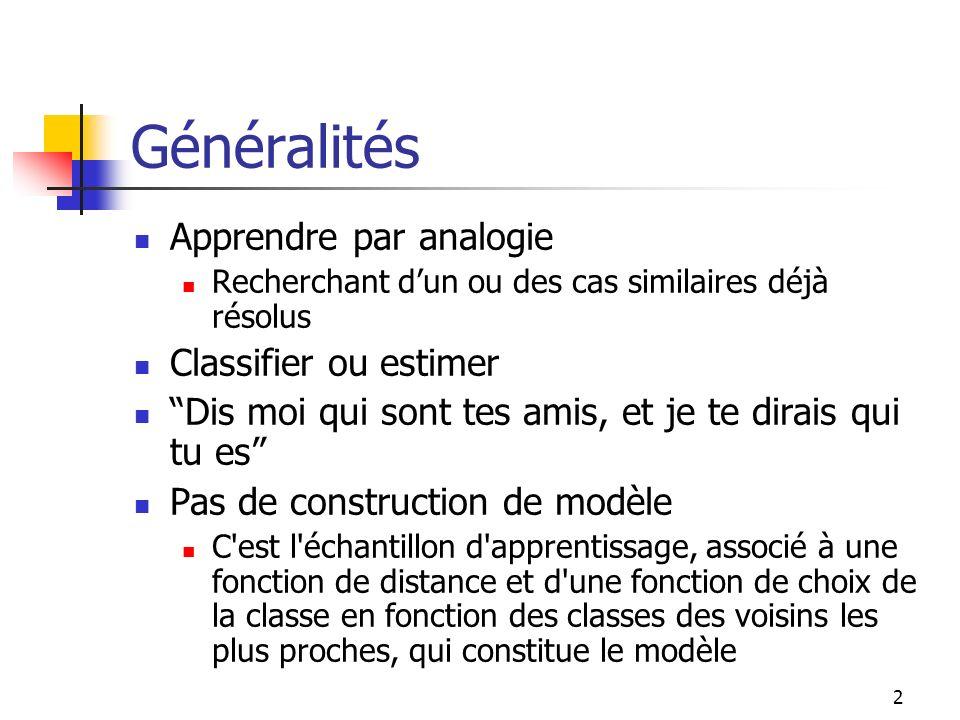 Généralités Apprendre par analogie Classifier ou estimer