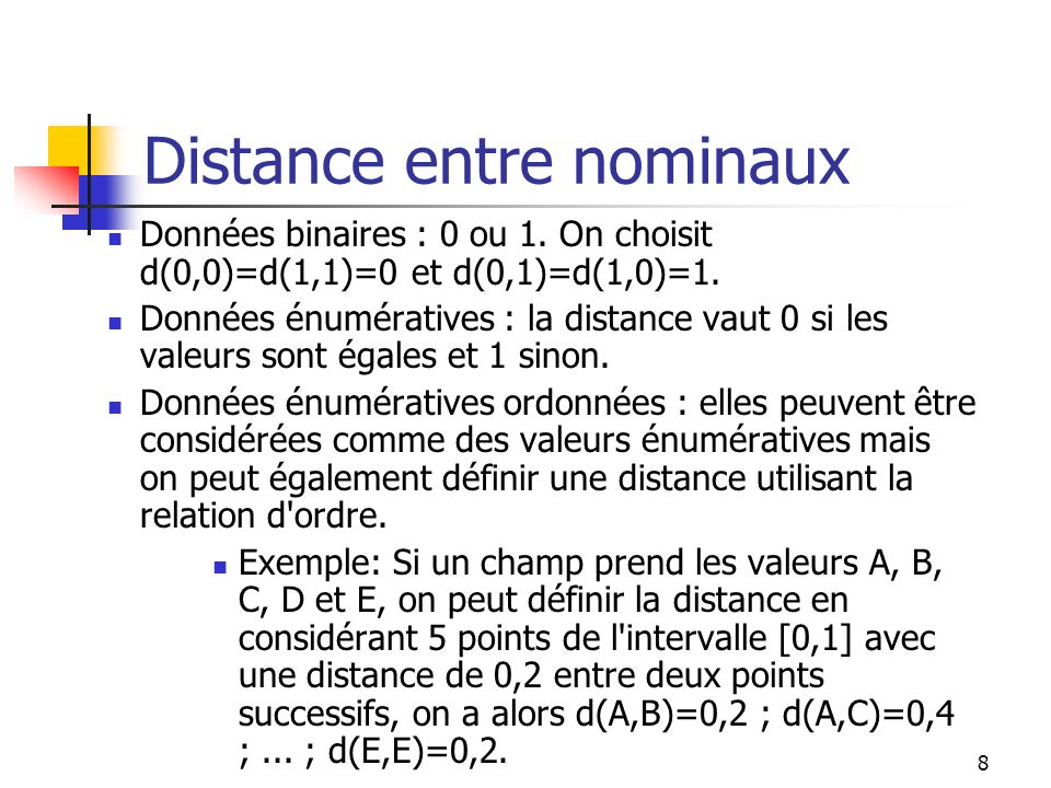 Distance entre nominaux