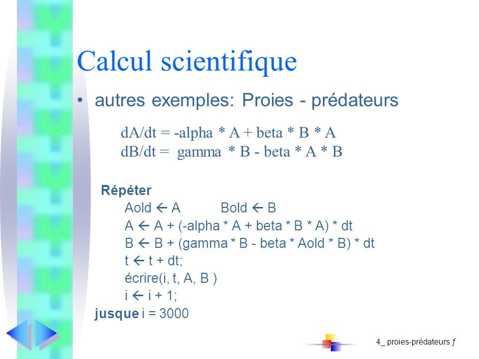 Calcul scientifique autres exemples: Proies - prédateurs