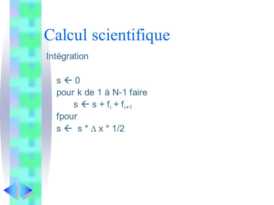 Calcul scientifique Intégration s  0 pour k de 1 à N-1 faire