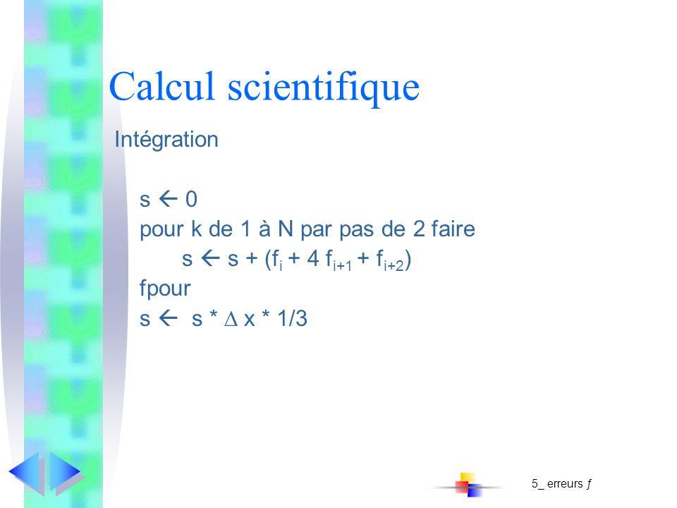 Calcul scientifique Intégration s  0