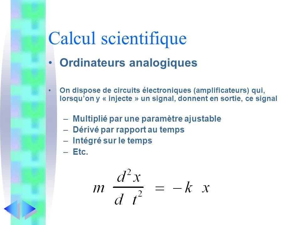 Calcul scientifique Ordinateurs analogiques