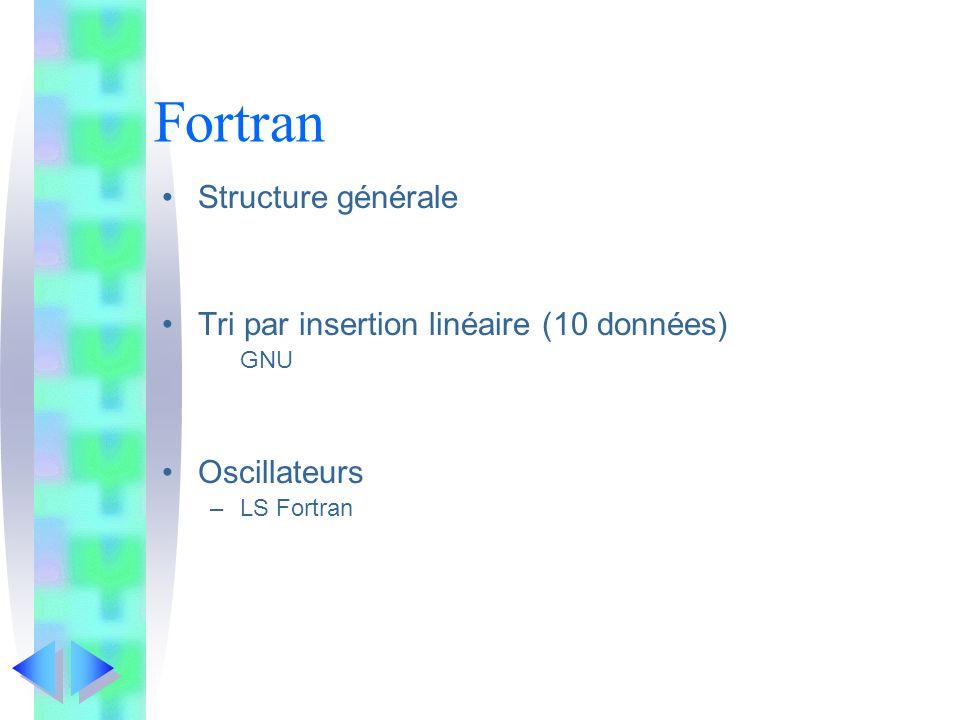 Fortran Structure générale Tri par insertion linéaire (10 données)