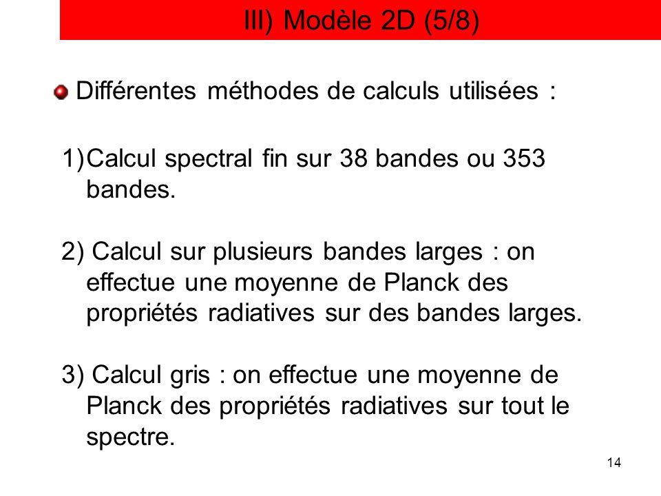 III) Modèle 2D (5/8) Différentes méthodes de calculs utilisées :