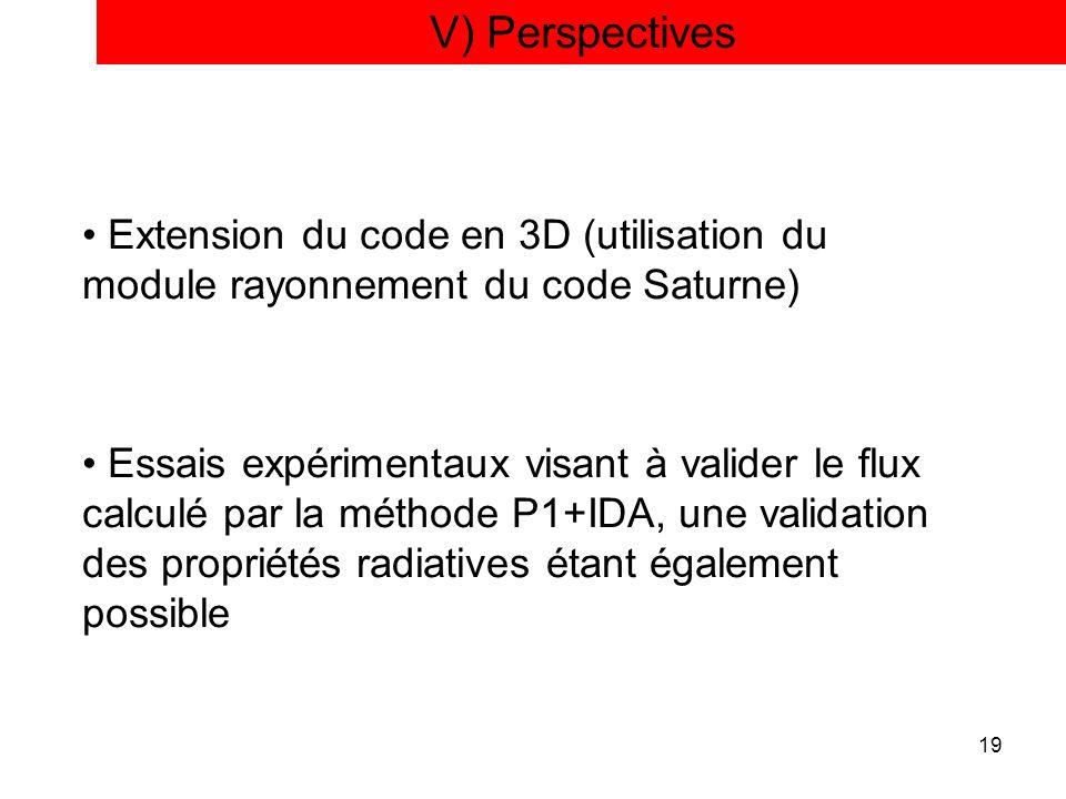 V) Perspectives Extension du code en 3D (utilisation du module rayonnement du code Saturne)