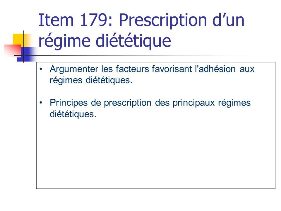 Item 179: Prescription d'un régime diététique