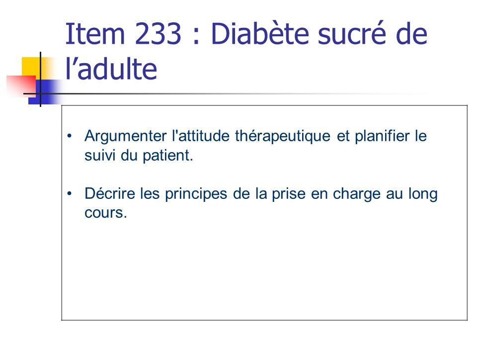 Item 233 : Diabète sucré de l'adulte