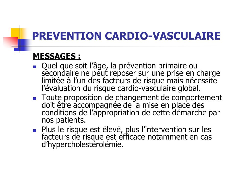 PREVENTION CARDIO-VASCULAIRE