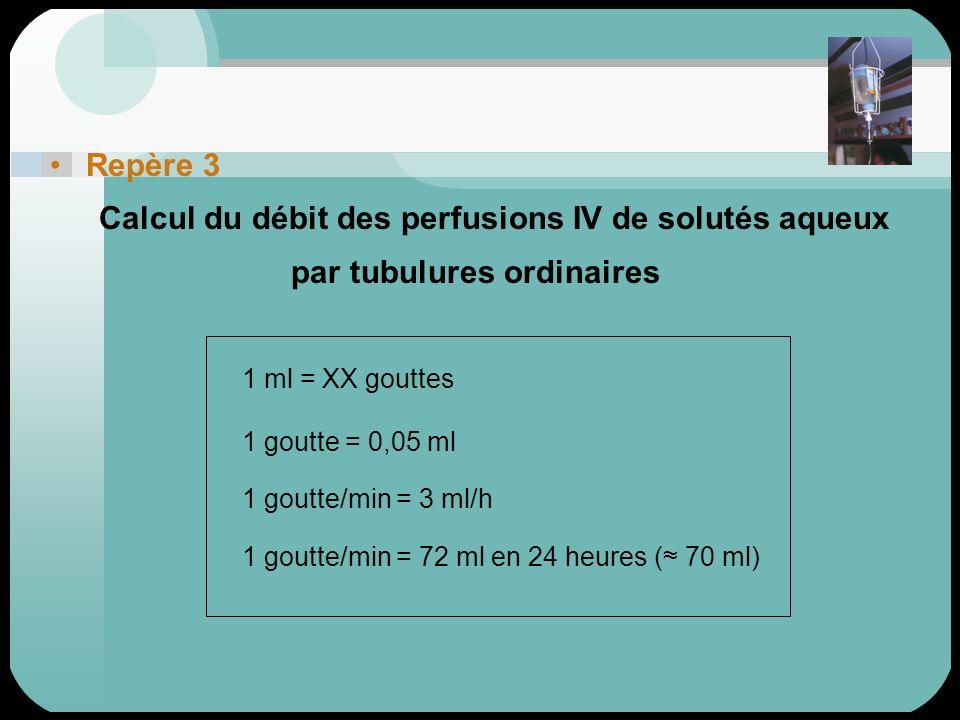 Repère 3 Calcul du débit des perfusions IV de solutés aqueux. par tubulures ordinaires. 1 ml = XX gouttes.