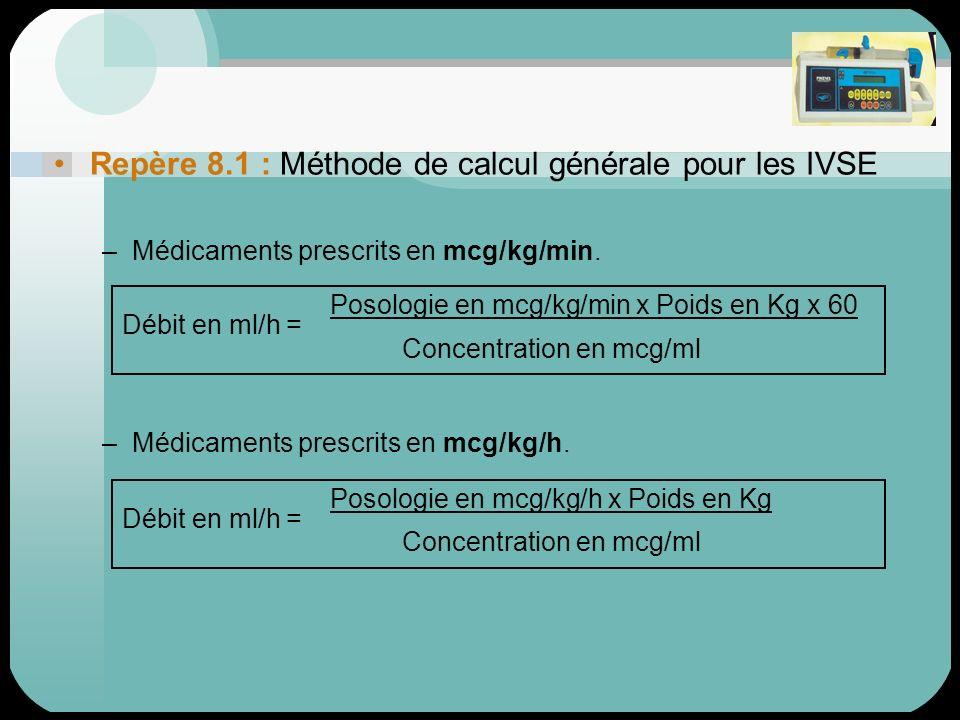 Repère 8.1 : Méthode de calcul générale pour les IVSE