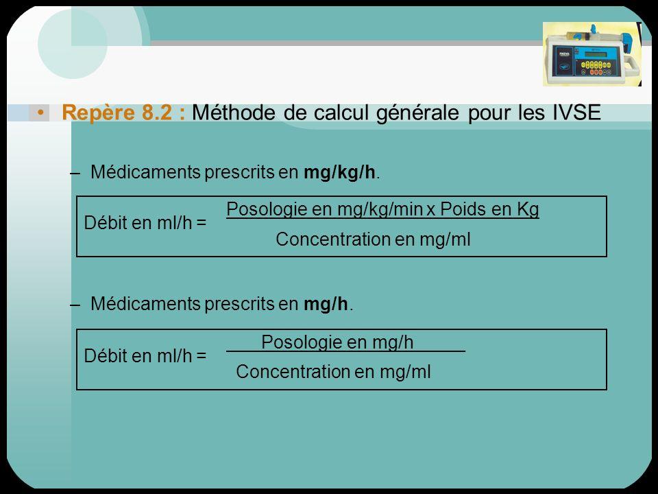 Repère 8.2 : Méthode de calcul générale pour les IVSE