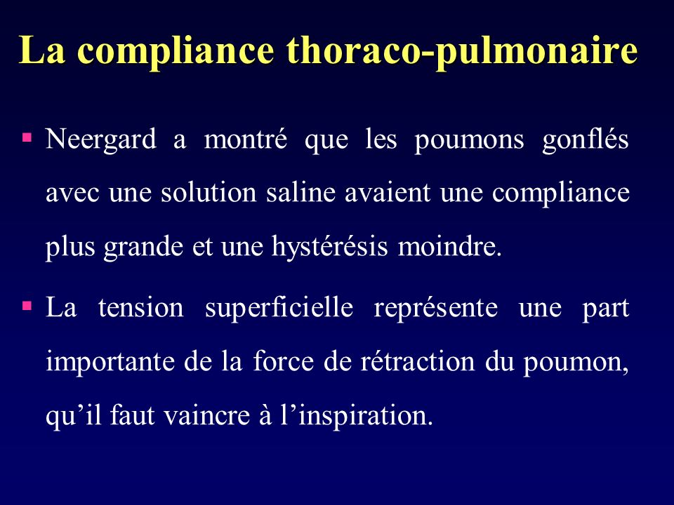 La compliance thoraco-pulmonaire