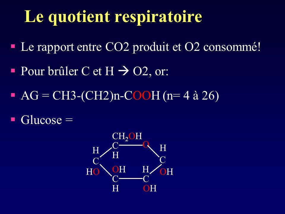 Le quotient respiratoire