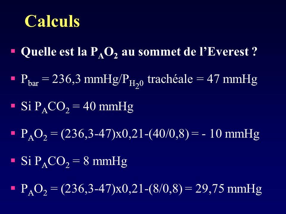 Calculs Quelle est la PAO2 au sommet de l'Everest