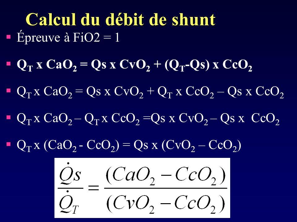 Calcul du débit de shunt
