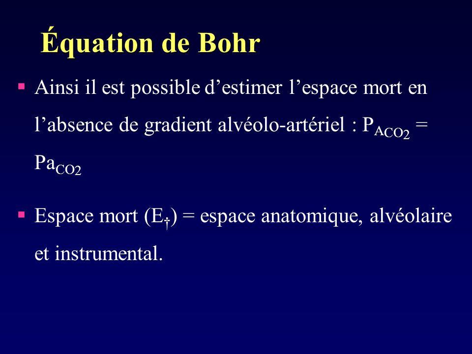 Équation de Bohr Ainsi il est possible d'estimer l'espace mort en l'absence de gradient alvéolo-artériel : PACO2 = PaCO2.
